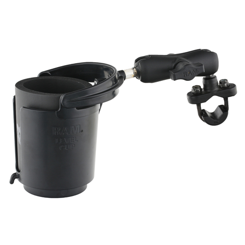 RAM-B-132RU :: RAM Handlebar Rail Mount With Zinc Coated U-Bolt Base And Level Cup™ Drink Holder With Stubbie Holder